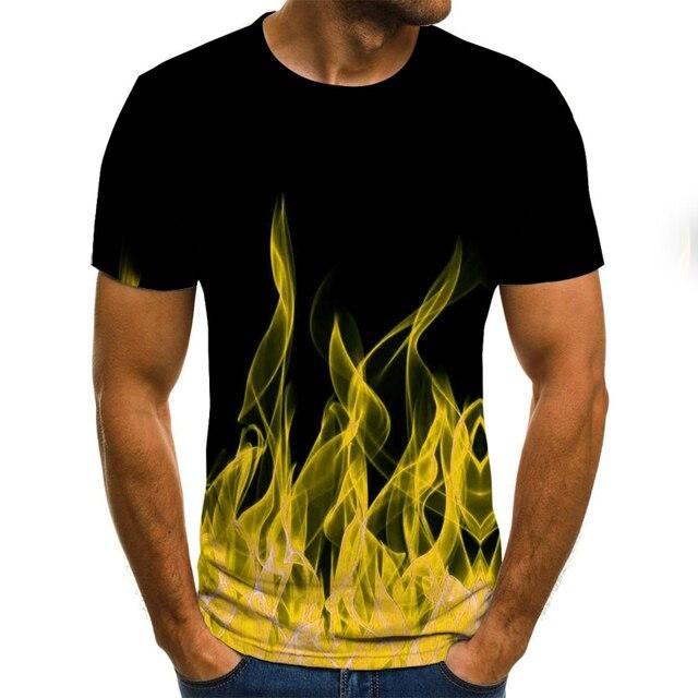 2020 new flame men's T-shirt summer fashion short-sleeved 3D round neck tops smoke element shirt trendy men's T-shirt 5