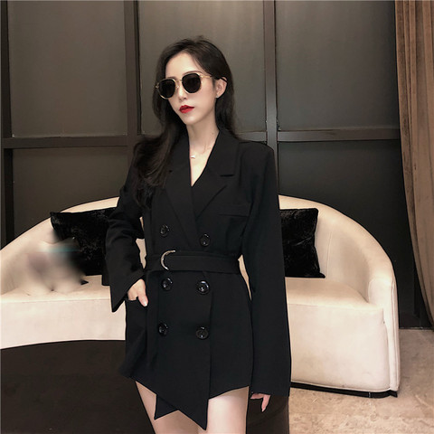 2019 fall women lace up blazers and jackets blazer women  Long Sleeve office lady casual belt Suit Lahore