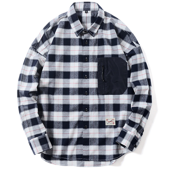 Men's Casual Flannel shirt Loose Big Pocket Top Quality Plaid Plus Size Long Sleeve Chemise homme Soft Comfortable Dress shirt pocket patched plaid curved hem shirt dress