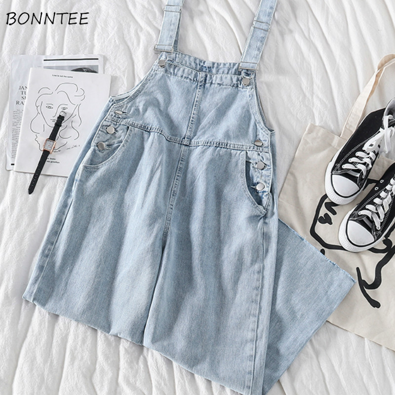 Jumpsuits Women Loose Pockets Denim Ankle-length Solid Button Retro Korean Style Chic Fashion Daily Casual Womens All-match Soft