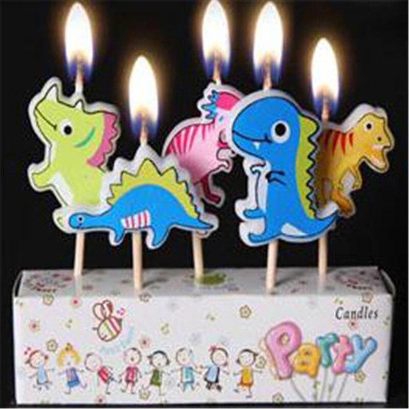 5 шт. упак. Милые свечи динозавра, креативные свечи для творчества, Детские праздничные свечи на день рождения, мультяшная свеча без дыма, укр...
