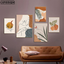 Abstract Woman Body Line Drawing Posters Plant Canvas Art Print Boho Wall Painting Vintage Wall Pictures For Home Decoration
