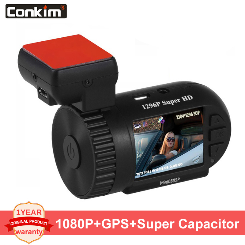 Conkim Dash Cam Mini 0805P <font><b>Car</b></font> <font><b>DVRs</b></font> Auto Recorder 1296P <font><b>Car</b></font> Cameras Full HD Pro Capacitor Hidden Dashcam GPS HD DVR Camera image