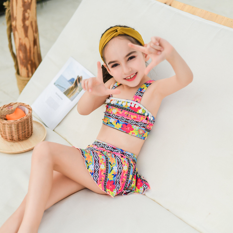 2019 New Style KID'S Swimwear Split Skirt-Style Bathing Suit Baby GIRL'S Tour Bathing Suit Fashion Cute Girls