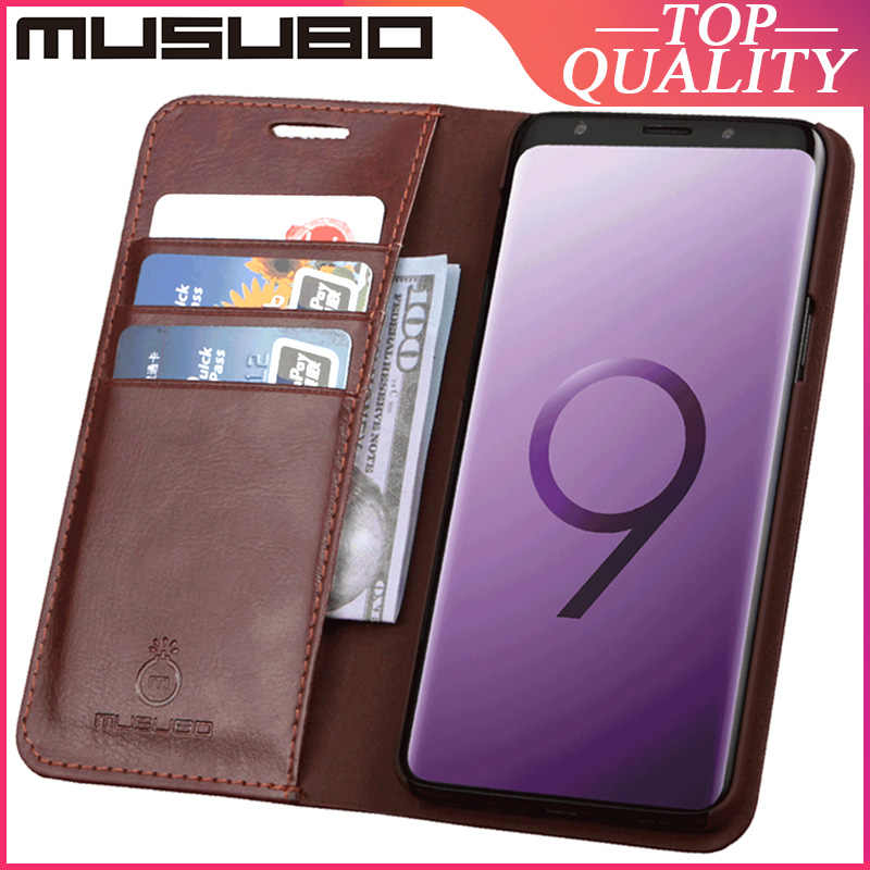 Musubo Asli Kulit Case untuk Samsung Galaxy S9 + S9 Plus Catatan 9 Note 7 Funda Luxury Cover Case Flip kartu Slot Dompet Casing