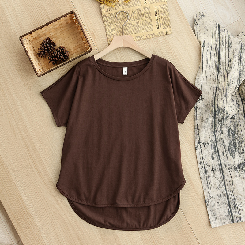 H614bbac9166345199cd259371aaf23841 - 100% cotton Loose Casual Summer Short Sleeve Female T shirt Women asymmetric O-neck Tee Tops M30326