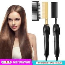 Hair-Straightening-Brush Hair-Curler Styler Curling Iron Hot-Heating-Comb Fast Corrugation