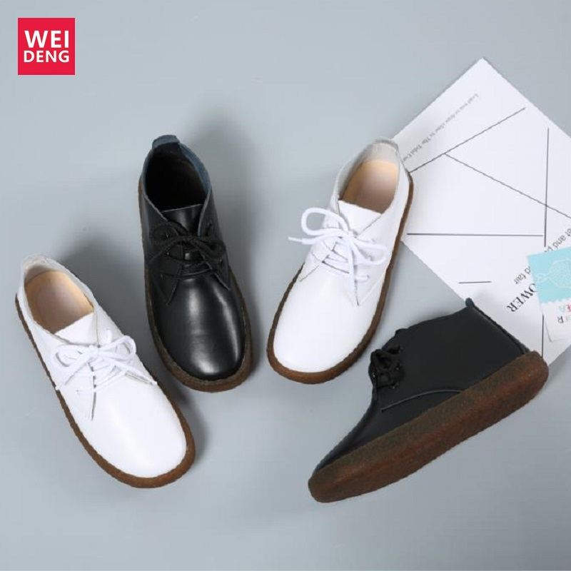 WeiDeng Genuine Leather Flats Moccasins Casual Women Leisure Lace Up Shoes Loafers  Rubber Non Slip Winter Zapatos Mujer