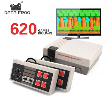 DATA FROG Mini TV Game Console 8 Bit Retro Video Built-In 620 Games with Dual Controllers Handheld Player