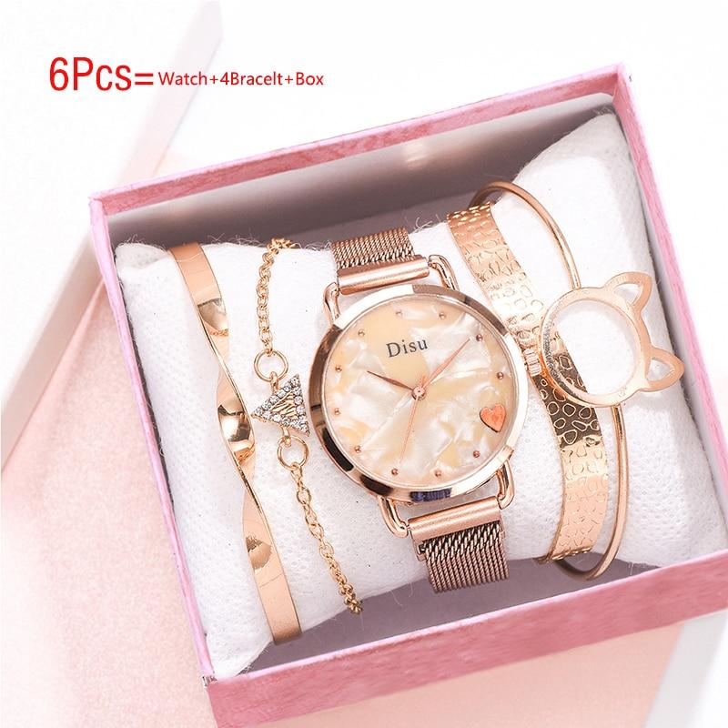5Pcs Set Women Watches Luxury Ladies Watch And Bracelet Set Womens Gift Fashion Quartz Wrist Watches Orologio Donna Dropshipping