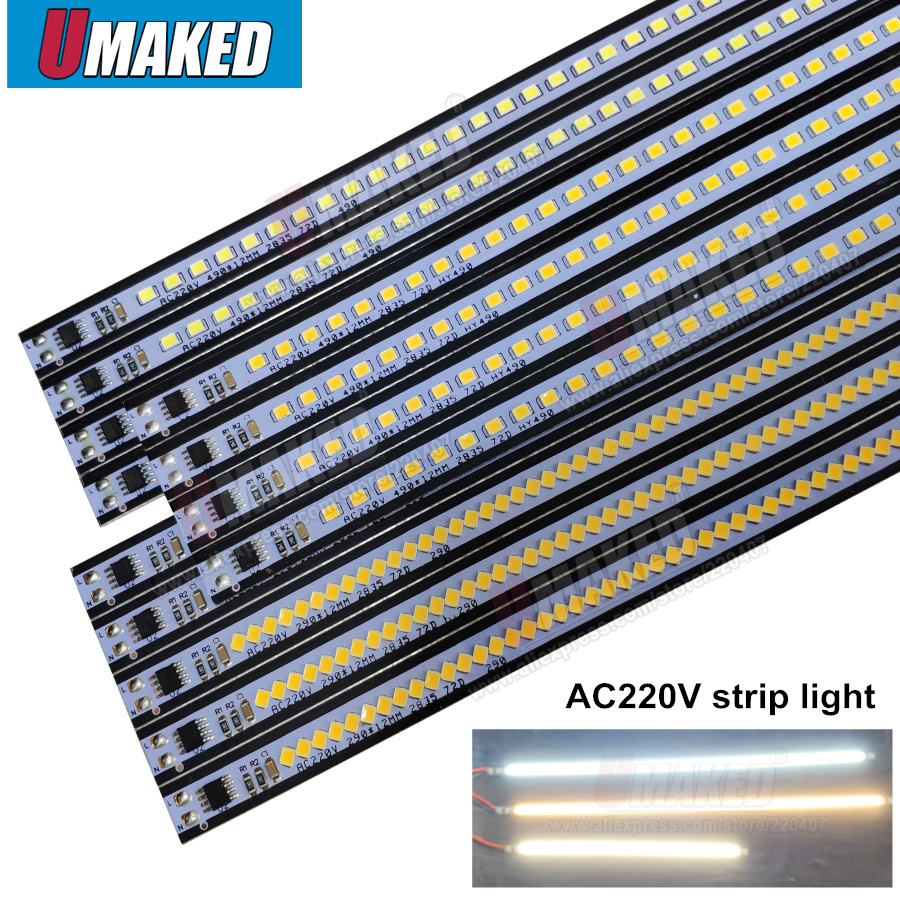 10pcs ac 220v 290mm 490mm LED rigid strip Driverless, 220v SMD 2835 led bar light no need power under counter, strip light lamp