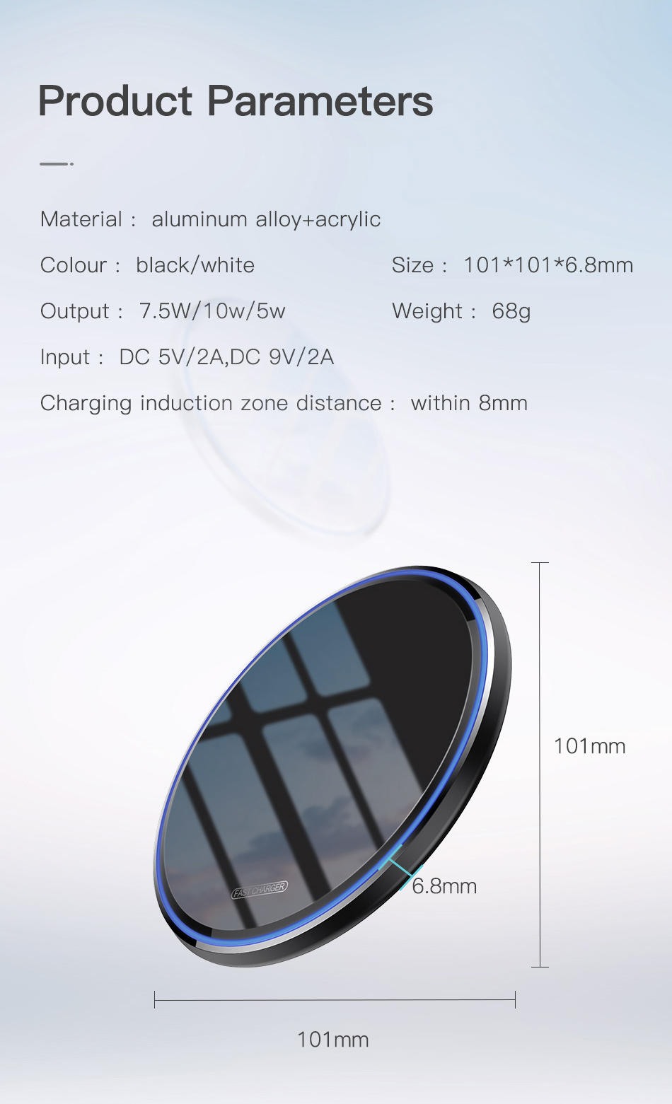 estore kart electronics new arrival mobile accessories Mirror Wireless Charging Pad with product paramaters