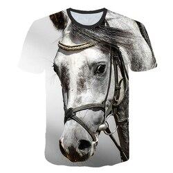 Футболка для детей от 3 до 14 лет, футболка с 3D-принтом бегущей лошади, футболка с короткими рукавами для мальчиков и девочек, футболки с изобр...