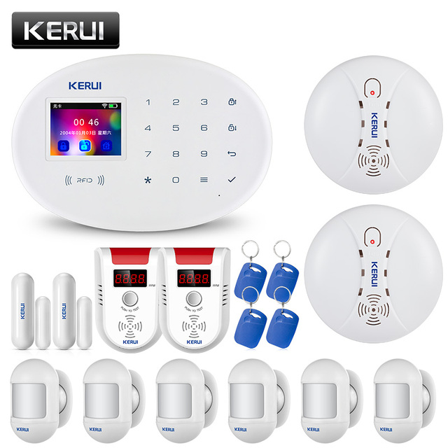 KERUI W20 WIFI GSM Home Alarm System Adopts 2.4-inch TFT Touch Screen APP Control RFID Card Wireless Infrared Smart Home Alarm 1
