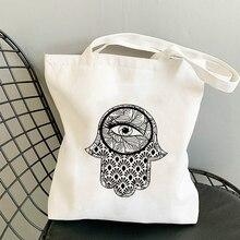 Evil Eyes Shopping Bag Canvas Fabric Summer Beach Designer Handbags Reusable Customizable Logo Shopper With Anime Bags Printed