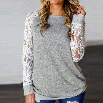 #R40 Lace Floral Splicing Shirt Blouses Women Gray O Neck Long Sleeve Shirts Blouse Tops Women Blusas Mujer De Moda 2020 1