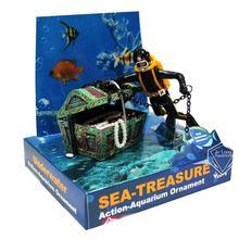 Mergulhador caçador tesouro caixa subaquática ornamento paisagem dos desenhos animados tanque de peixes aquário paisagismo ornamento decoração
