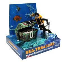 Diver hunter сундук с сокровищами подводный Пейзаж орнамент