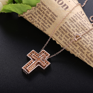 Image 5 - Slovecabin Pink Gold Long Chain D Leter Cross Colorful AAA Zircon Pendant Necklace 925 Sterling Silver JapanWomen Luxury Jewelry