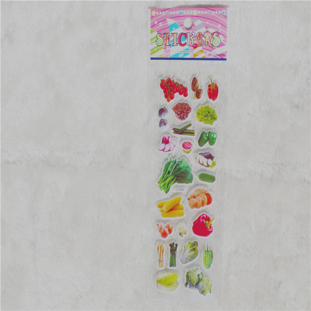 5 Sheets Vegetable Sticker Cute DIY Stickers Cartoon Children Food Stickers Toys PVC Scrapbook Gifts For Kids GYH