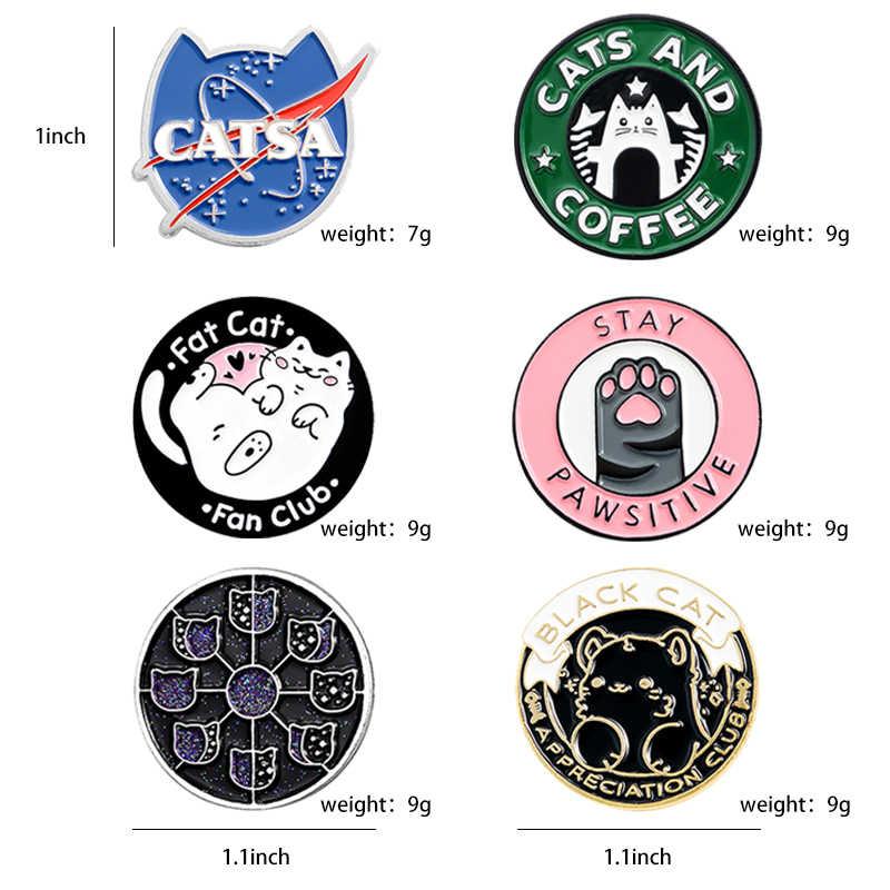 Kucing Klub Enamel Pin Kucing Planet Moon Cafe Paw Lencana Kustom Kucing Bros Kerah Pin Kemeja Jeans Tas Hewan Lucu perhiasan Hadiah