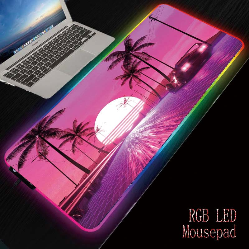MRGBEST Palm Car Road Scenery Gaming RGB Mouse Pad Computer Mousepad RGB Backlit Large Mousepad for Desk Keyboard LED Mice Mat image