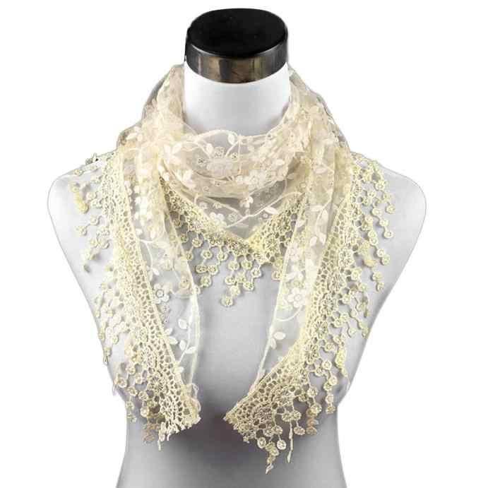 แฟชั่นลูกไม้พู่ดอกไม้พิมพ์ผ้าพันคอผู้หญิง Shawl ฤดูใบไม้ร่วงฤดูหนาวผ้าพันคอสำหรับสุภาพสตรี Elegant ผ้าคลุมไหล่ผ้าพันคอ # YL5