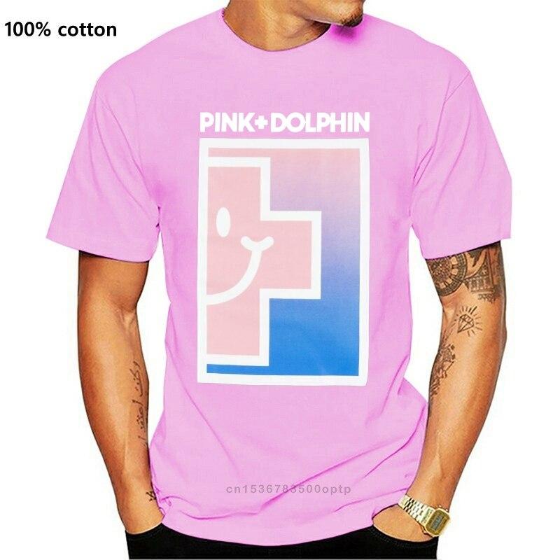 Camiseta preta do lado positivo do golfinho cor-de-rosa das ondas do streetwear dos homens t