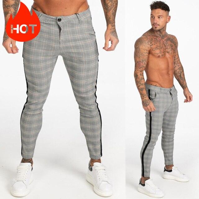 GINGTTO Mens Pants Casual Mens Trousers Skinny Super Stretch Mens Chinos Pants Slim Fit Mens Casual Pant Plaid Elastic Waist 6