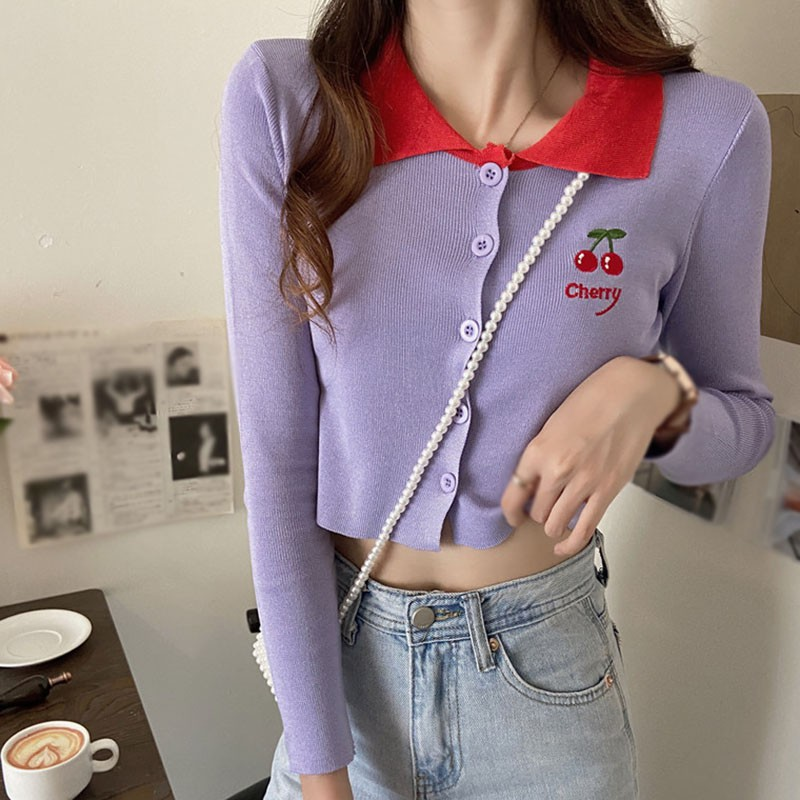 Women Embroidery Cherry Print Sweater Long-sleeved Knitted Sweet Jacket Short Tops image