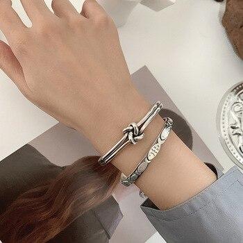 XIYANIKE-pulsera de plata de primera ley con forma de pez para mujer, brazalete abierto, plata esterlina 925, estilo coreano, estilo Retro, único
