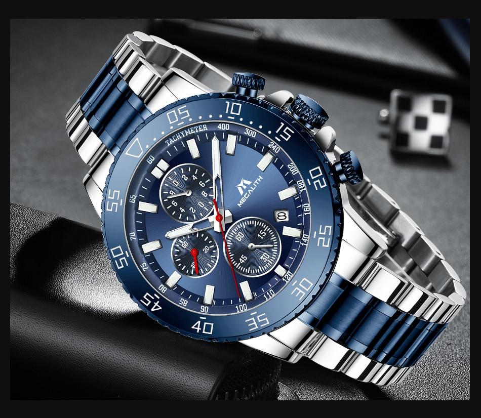 H614ca44628c84e1c84d53e5742a811dcq MEGALITH Watches Mens Waterproof Analogue Clock Fashion Stainless Steel Waterproof Luminous Watch Men Sports Relogio Masculino