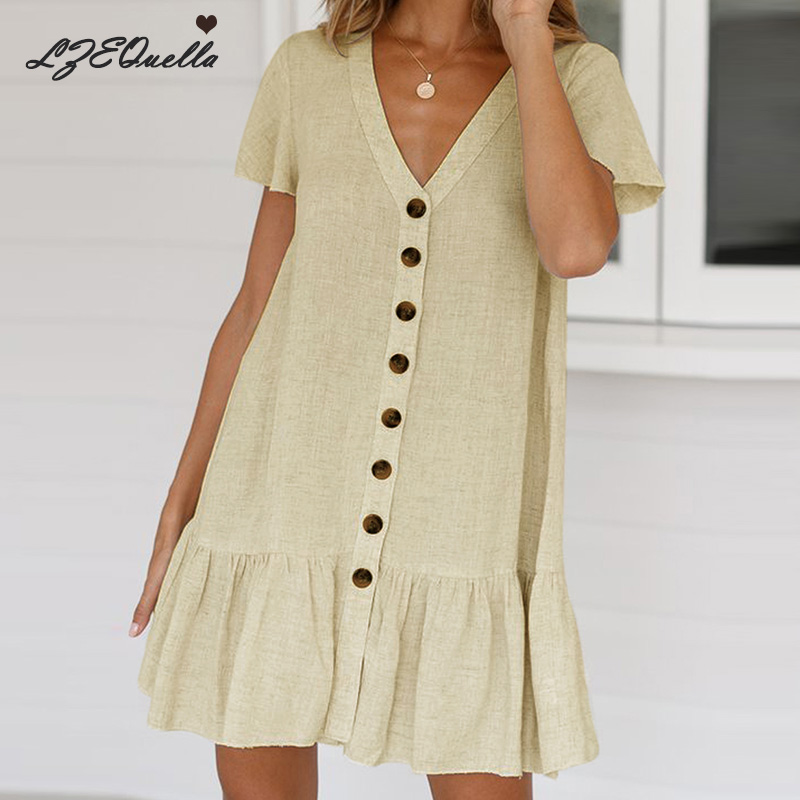 LZEQuella Women Short Sleeve V Neck Mini Shirt Dress Button Solid Color Dresses Vintage Spring Summer Female Vestidos NZ235