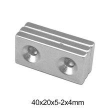 Imán de neodimio potente de 1 ~ 20 piezas, 40x20x5-4, cuatro velocidades, doble orificio, 4mm, NdFeB, magnético, 40x20x5, imanes de tierras raras de 40x20x5