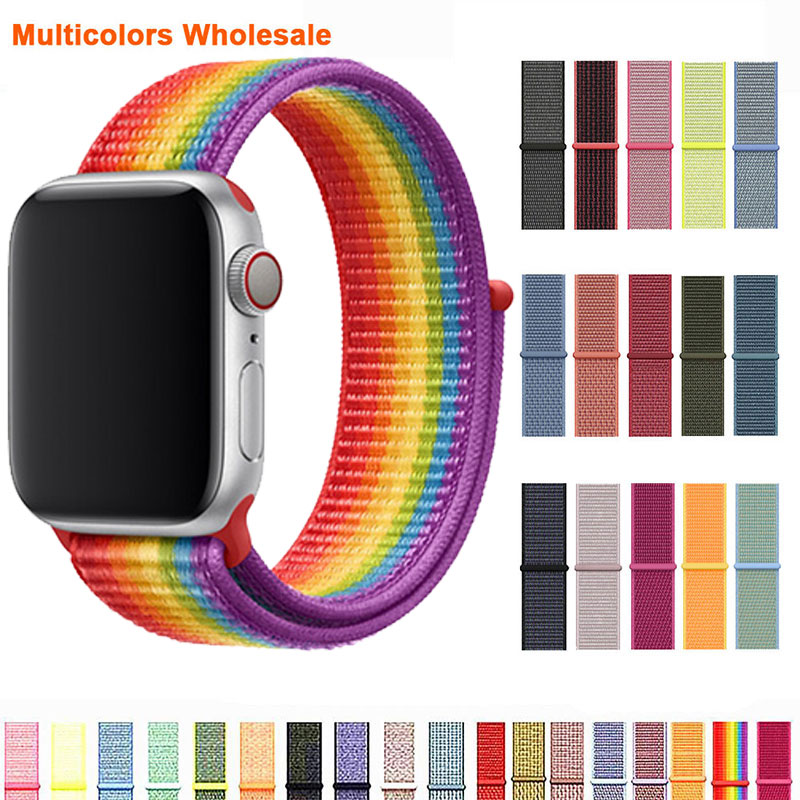 Breathable Band For Apple Watch Series 4 3 2 Bands 44mm 42mm Nylon Soft Replacement Sport Loop For Iwatch 4 3 2 1 40mm 38mm