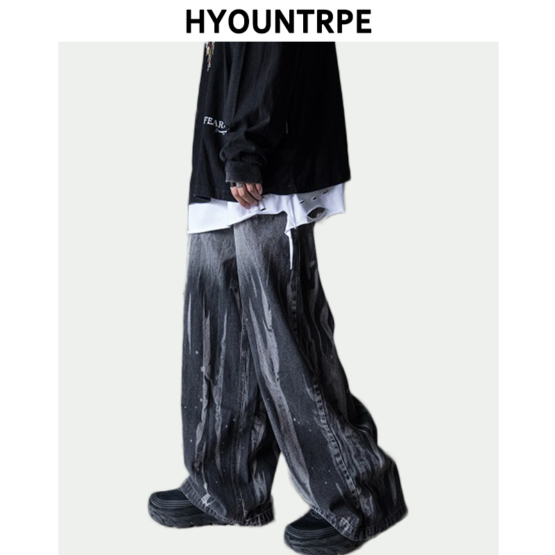 Irregular Tie-dyed Wide Leg Denim Jeans Pants Mens Fashion Straight Zipper Loose Trousers Hip Hop Streetwear New Casual Jogger