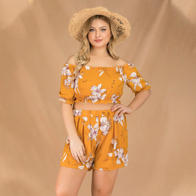 2019 new summer plus size sets for women large short sleeve loose off Shoulder jumpsuits tops and shorts yellow 4XL 5XL 6XL 7XL 5