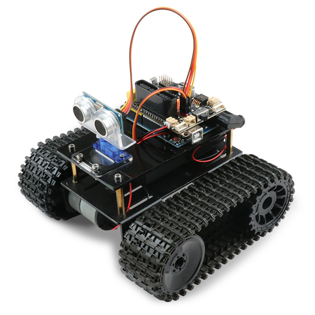 DIY Obstacle Avoidance Smart Programmable Robot Tank Educational Learning Kit For Arduino UNO Interactive Game Educational Toys