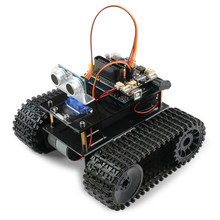 DIY Obstacle Avoidance Smart Programmable Robot Tank Educational Learning Kit For Arduino UNO Interactive Game Educational Toys(China)