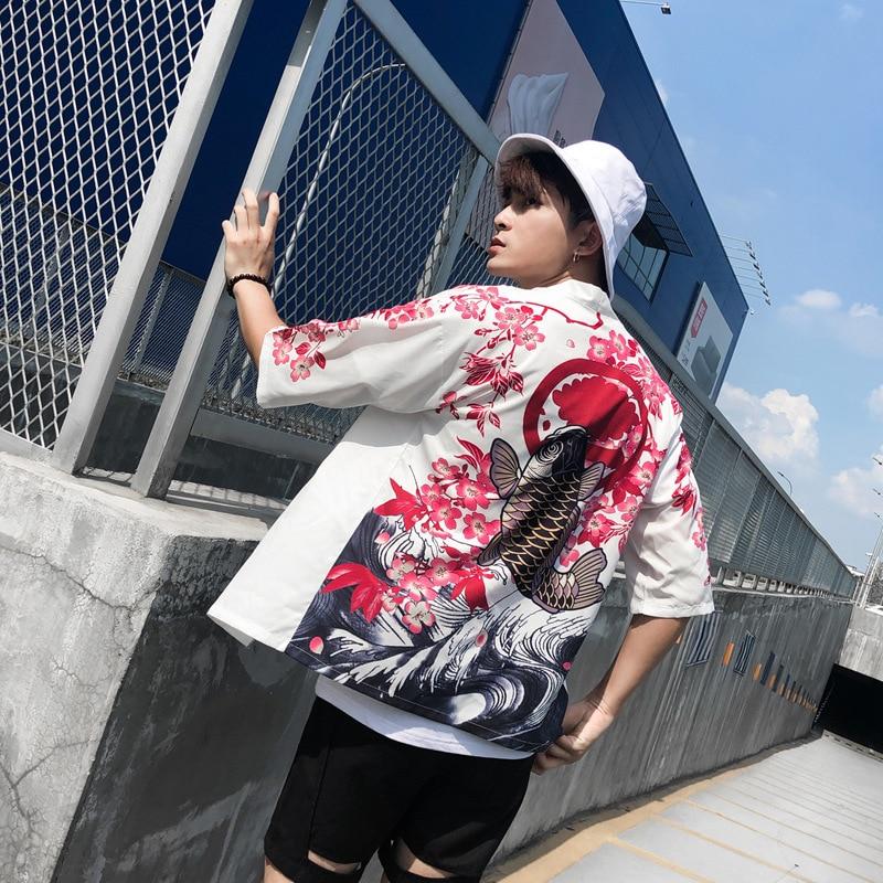 Traditional Japanese Kimono Fashion Cardigan Yukata Chinese Style Print Jackets Men Coats Loose Blouse Harajuku Cosplay Costumes