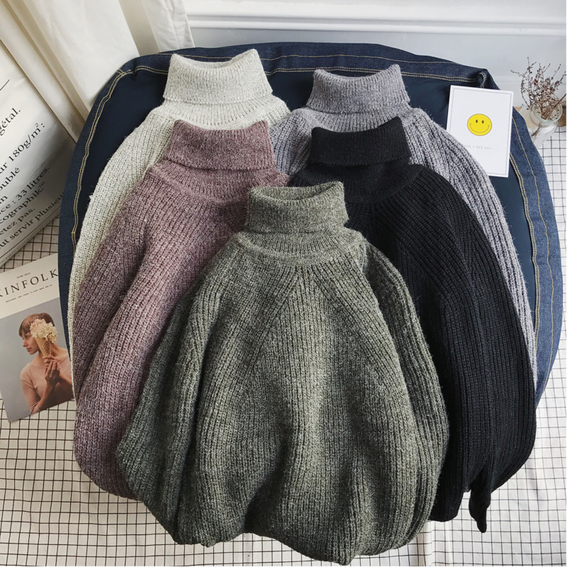 Winter Thicken Turtleneck Sweater Men Warm Fashion Solid Color Casual Knit Sweaters Man Loose Long Sleeve Sweater Men Clothes