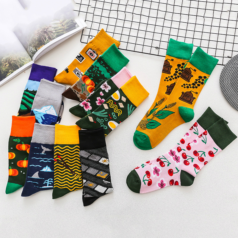 1Pair Male Crew Socks Men Casual Socks Women Cotton Fashion Cartoon Painting Funny Cute Cool Unisex Socks Mid Length Stockings