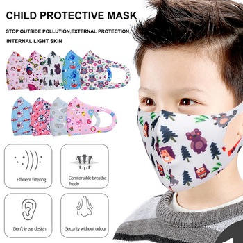 Wholesale Kids Cartoon Printing Mouth Mask Anti-Dust Flu Breathable PM2.5 Cotton Face Nose Mask Cover With Filter Respirator