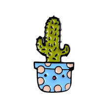 Cute Potted Plant Enamel Pins Cactus Aloe Brooches Lapel Pin Shirt Bag Catoon Badge Natural Jewelry Brooch Accessories for Bag