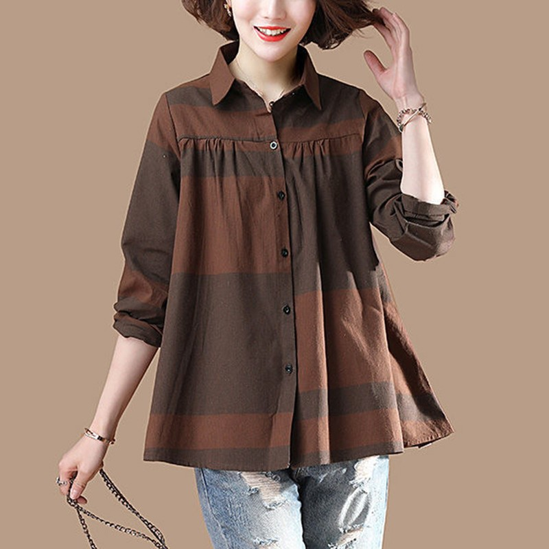 Plus Size Women Long Sleeve Cotton Shirt New 2020 Autumn Vintage Turn-down Collar Female Loose Casual Tops Shirts P1451