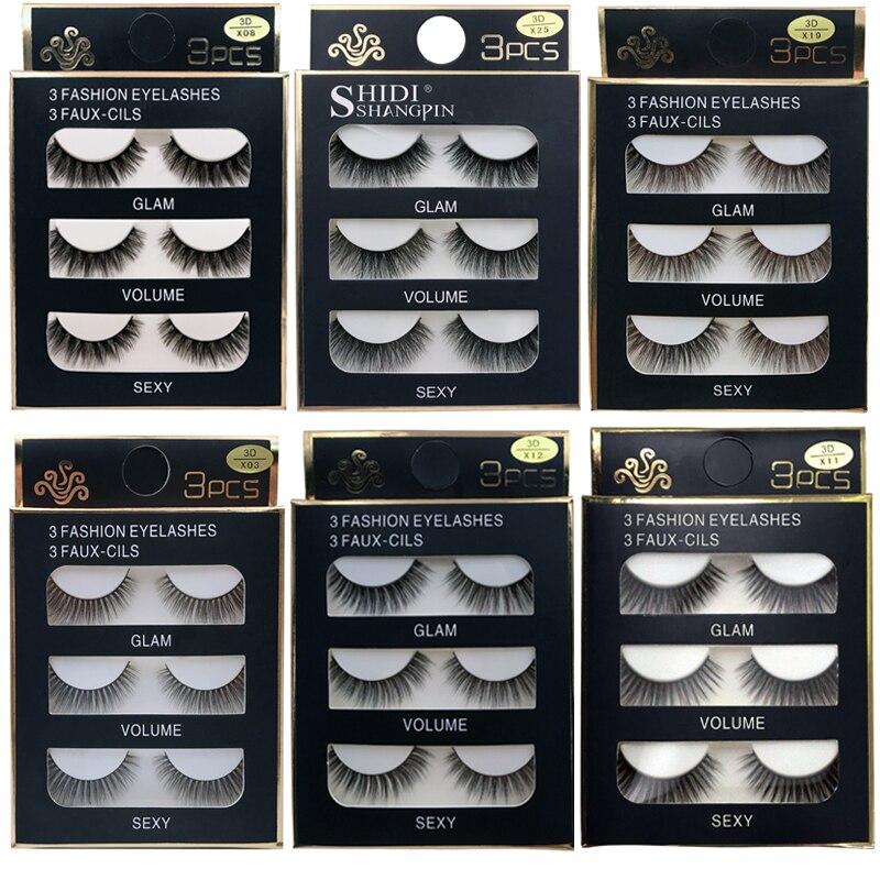 SHIDISHANGPIN 3 /4pairs 38styles 3D Faux Mink Hair Soft False Eyelashes Fluffy Wispy Thick Lash Handmade Lashes Eye Makeup Cilio