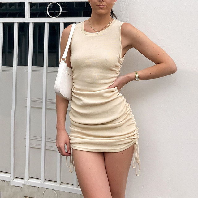 Cotton Ruched Drawstring Sexy Party Dress Women Sleeveless Elastic Mini Dress Vintage Summer Bodycon Club Wear Vestidos 1