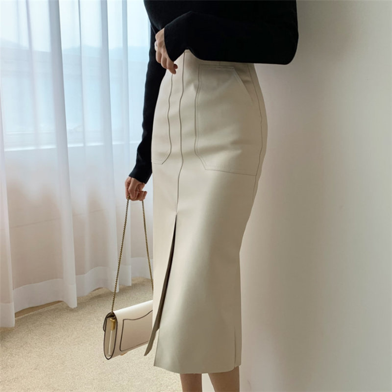 HziriP Women 2020 New Autumn Spring High Waist Office Ladies Pencil Skirts Solid Sexy Formal PU Leather Elegant Long Skirt