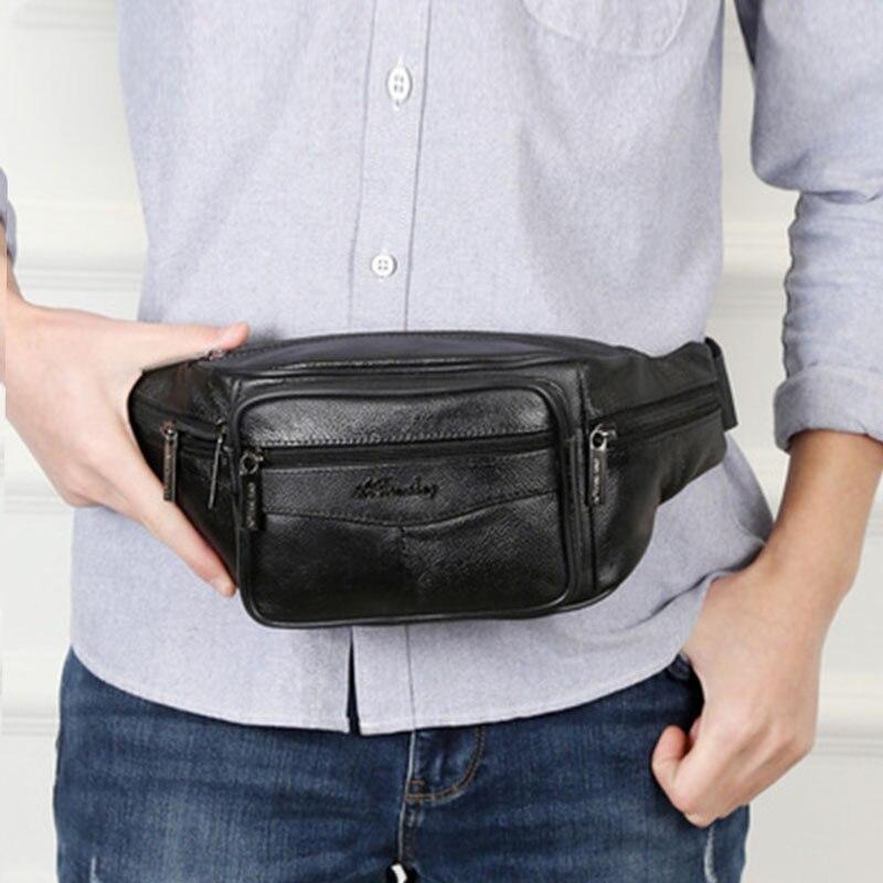 New Leather Waist Bag Men Fanny Pack Men Brand Leather Pouch Men High Capacity Waterproof Hip Bag Black Belt Bag Big Kidney Bags