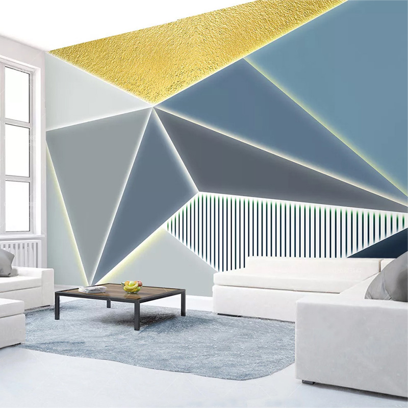 Custom 3D Wall Mural Modern Simple 3D Geometric Polygon Golden Line Photo Wallpaper Living Room Study Creative Art Wall Papers